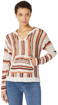 Long Sleeve Stripe Hoodie with Pouch Pocket 48H8402 (Tan) Women's Clothing