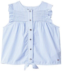 Hawkins Tee with VELCRO(r) BRAND Closure at Center Front (Cornflower Blue/Multi) Women's Short Sleeve Button Up