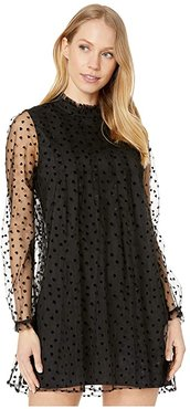Sheer Hearts Shift Dress TPY6256722 (Black) Women's Clothing