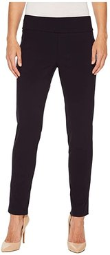 Control Stretch Pull-On Ankle Pants with Back Slit Detail (Navy) Women's Casual Pants