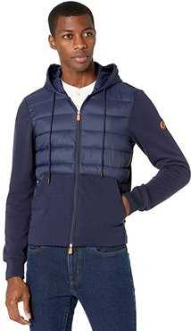 Connor GIFE Mixed Media Zip-Up Hooded Puffer Jacket (Navy Blue) Men's Clothing