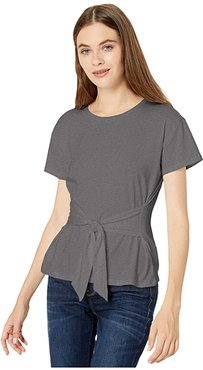 Cotton Jersey Tie Front T-Shirt (Light Heather Grey) Women's Clothing