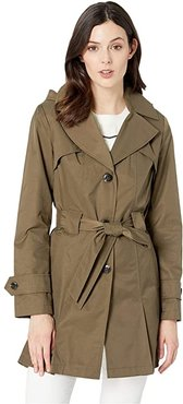 Single Breasted Hooded Belted Trench (Sage) Women's Coat