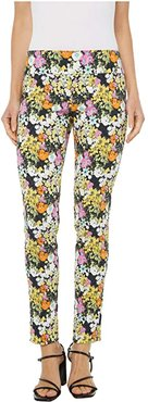 Petal Pusher Pull-On Ankle Pants with Back Slit Detail (Pink Multi) Women's Clothing