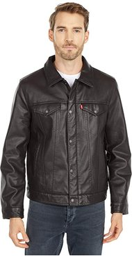 Laydown Collar Classic Trucker w/ Fly Front Snap Placket Chambray Lining (Dark Brown) Men's Coat