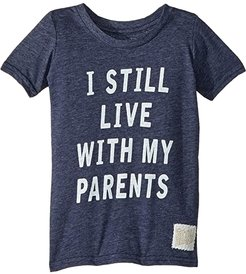 I Still Live with My Parents Short Sleeve Tri-Blend Tee (Toddler) (Streaky Navy) Boy's T Shirt