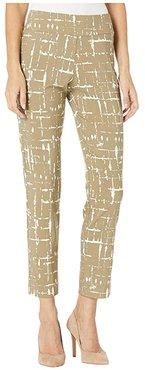 Pull-On Ankle Pants (Taupe Ivory Lines) Women's Dress Pants