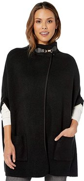 Solid Riding Cape with Welt Pocket (Black) Women's Clothing