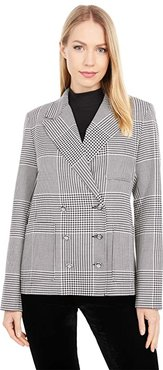 Suits You Double Breasted Blazer with Patch Pocket Detail (Black/White) Women's Jacket