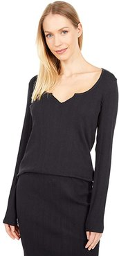 Organic Cotton Ribbed Notched Neck Long Sleeve Top (Black) Women's Clothing
