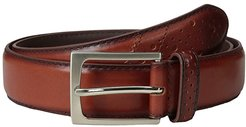 Full Grain Leather Belt with Wing Tip Style Tail 32mm (Saddle Tan) Men's Belts