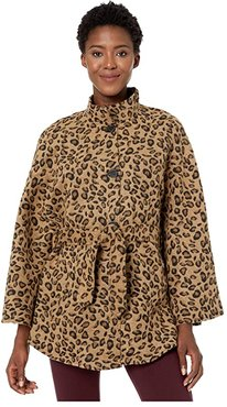 Leopard Belted Cape Toggle Topper (Leopard) Women's Clothing