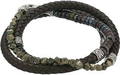 6 mm Classic Chain Silver Triple Wrap Bracelet on Brown Leather with Hook Clasp (Brown) Bracelet