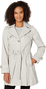 Single Breasted Hooded Belted Trench (Silver) Women's Coat