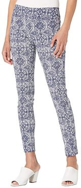 Ceramica Printed Bengaline Pull-On Ankle Pants with Back Slit Detail (Navy/White) Women's Casual Pants
