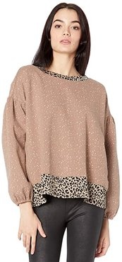 Leopard Print Trim Long Sleeve Pullover (Beige) Women's Clothing
