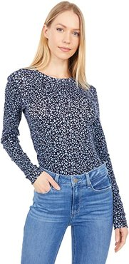 Heritage Knit Long Sleeve Printed Crew Neck (Dusty Blue Leopard) Women's Clothing