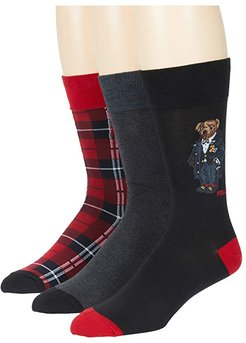 Holiday Party Bear 3-Pair Giftbox (Assorted) Men's Crew Cut Socks Shoes
