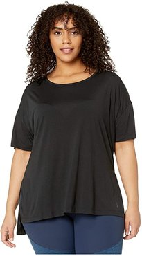 Plus Size Yoga Layer Short Sleeve Top (Black/Dark Smoke Grey) Women's Clothing