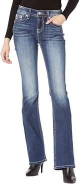 Mid-Rise Bootcut with Leather Embellishment in Dark Blue (Dark Blue) Women's Jeans