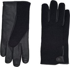Snap Tab Fabric Tech Gloves with Sherpa Lining (Navy) Extreme Cold Weather Gloves