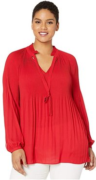 Plus Size Georgette Tie Neck Top (Lipstick Red) Women's Clothing