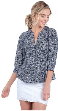 Ramona 3/4 Sleeve Button-Up Top (Navy) Women's Clothing