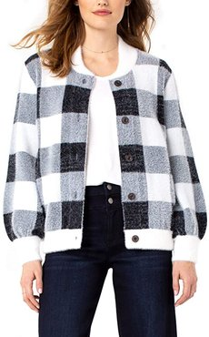 Button Front Sweater Bomber (Black/Snow/Grey Checker) Women's Clothing