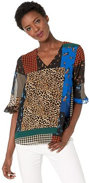 V-Neck Blouse with Poof Sleeve (Cobalt Multi) Women's Clothing