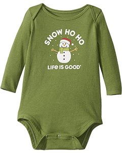 Snow Ho Ho Long Sleeve Crusher Bodysuit (Infant) (Fresh Pine) Kid's Jumpsuit & Rompers One Piece