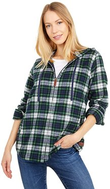 Scotch Plaid Flannel Relaxed Fit Hoodie (Dress Gordon) Women's Clothing