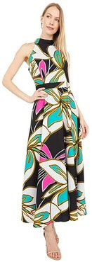 Printed Floral Tie Neck Maxi Dress (Green/Pink Flower) Women's Dress