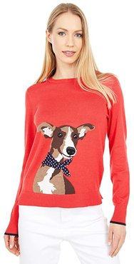 Intarsia Crew Neck Sweater (Red Whippet Dog) Women's Clothing