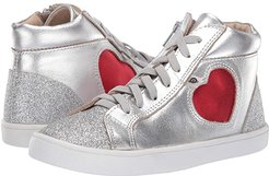 Hearty High Top (Toddler/Little Kid) (Silver/Glam Argent/Red Foil) Girl's Shoes
