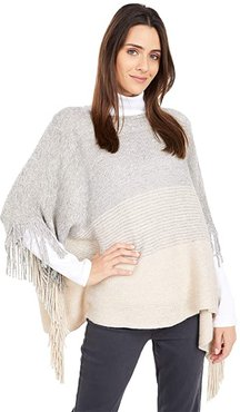 Pullover Color-Blocked Poncho with Fringe (Cream) Scarves