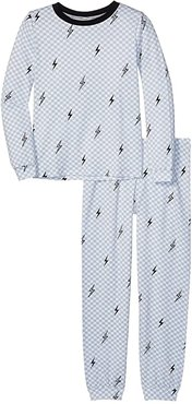 Crew Long Sleeve Top Pants Set (Big Kids) (Checkered Bolt) Boy's Pajama Sets