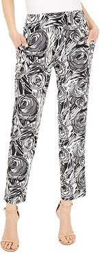 KL Leisure Stretchy Pull-On Pants with Side Pockets and Faux Fly Front (Black Rose) Women's Casual Pants