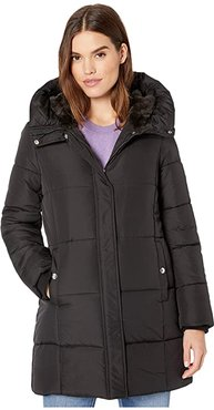 3/4 Polyfill with Faux Fur Liner (Black) Women's Coat