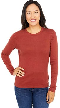 100% Cotton Heritage Knit Long Sleeve Crewneck (Fired Brick) Women's Clothing