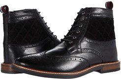Birk Wing Tip Boots (Black Leather) Men's Shoes