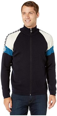 Geilo Masculine Jacket (Navy/Off-White/Arctic Blue) Men's Clothing