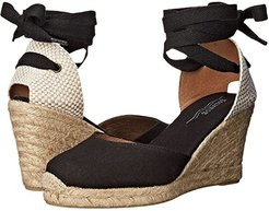 Tall Wedge Linen (Black) Women's Wedge Shoes