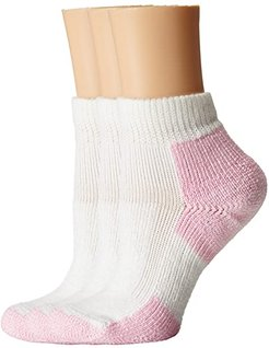 Thick Cushion Distance Walking 3-Pair Pack (White/Pink) Women's Quarter Length Socks Shoes
