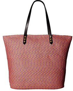 BSB1557 Tote Bag with Pop Color Lining and Interior Zippered Pocket and Metal Snap Closures (Bright Mix) Tote Handbags