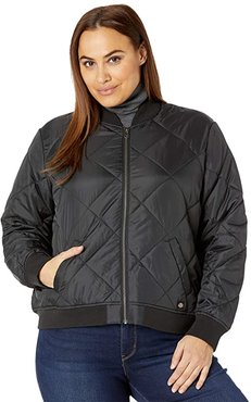 Plus Size Quilted Bomber Jacket (Black) Women's Clothing