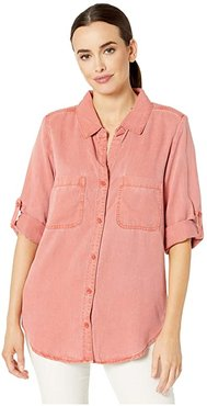 Solid Tencel Twill Button Front Shirt with Button Back (Red Clay) Women's Clothing