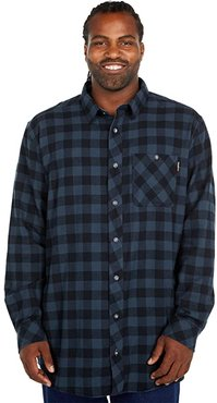 Extended Woodfort Mid-Weight Flannel Work Shirt (Navy Buffalo Check) Men's Clothing