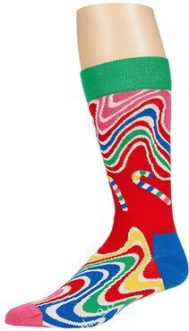 Psychedelic Candy Cane Sock (Medium Red) Men's Crew Cut Socks Shoes