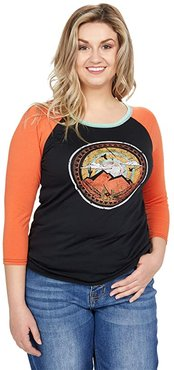 Baseball Sleeve Shirt with Graphic 48T8414 (Black) Women's Clothing