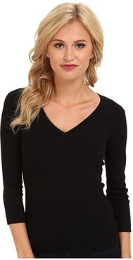 100% Cotton Heritage Knit 3/4 Sleeve Deep V-Neck (Black) Women's Long Sleeve Pullover